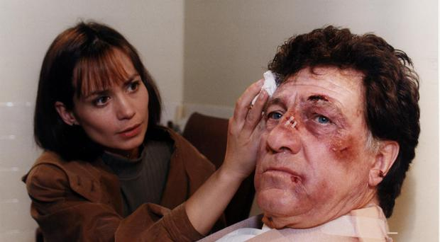 Zoe Tate (Leah Bracknell) and Frank (Norman Bowler) in Emmerdale (PA)