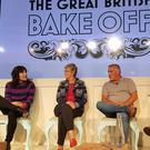 Richard Bacon (right) with judges and presenters for The Great British Bake Off (left to right) Sandi Toksvig, Noel Fielding, Prue Leith and Paul Hollywood at Channel 4 studios in central London (PA)