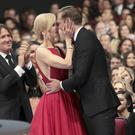 Nicole Kidman congratulates Alexander Skarsgard (Alex Berliner/Invision for the Television Academy/AP Images)