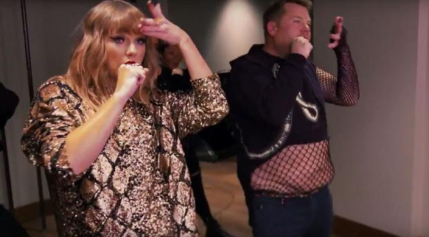 Taylor Swift and James Corden (CBS)