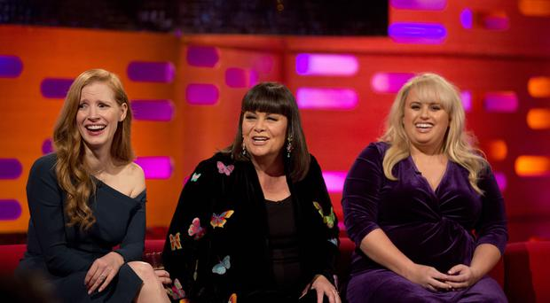 From left, Jessica Chastain, Dawn French and Rebel Wilson during filming of the Graham Norton Show