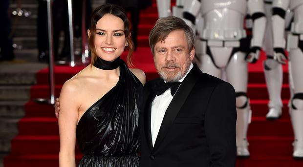 Daisy Ridley and Mark Hamill attending the european premiere of Star Wars: The Last Jedi held at The Royal Albert Hall, London (Matt Crossick/PA)