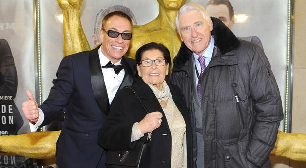 Jean Claude Van Damme with his parents on the JCVJ red carpet (Eric Tran-Quang)