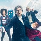 Bill Potts (Pearl Mackie), the Doctor (Peter Capaldi) and The First Doctor (David Bradley) in Twice Upon a Time, the Doctor Who Christmas special (BBC)