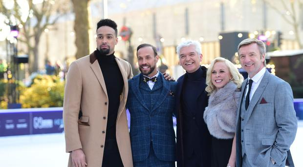 Presenter Phillip Schofield (centre) with the show's judges. (David Mirzoeff/PA)