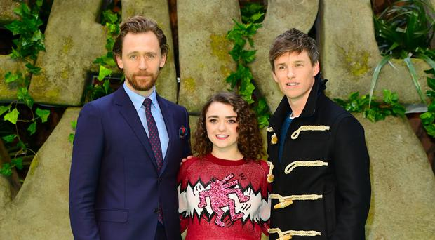 Tom Hiddleston, Maisie Williams and Eddie Redmayne at the Early Man world premiere (Ian West/PA)
