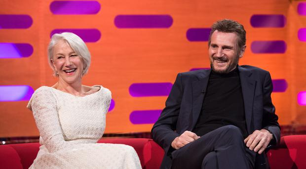 Dame Helen Mirren and Liam Neeson on The Graham Norton Show (Matt Crossick/PA)