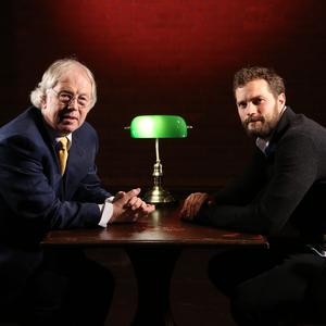 Fifty Shades actor Jamie Dornan interviewed by broadcaster Eamonn Mallie (Press Eye/Darren Kidd/PA)