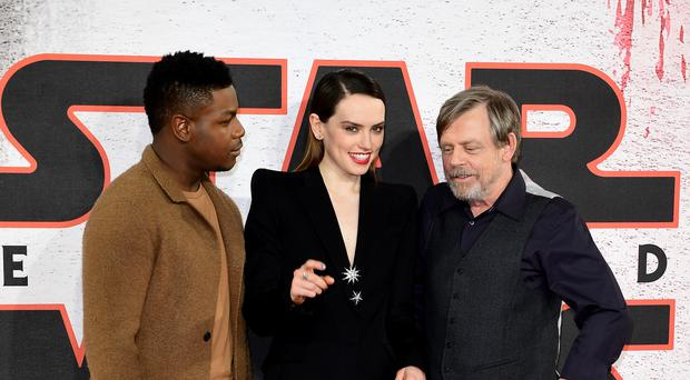 The Last Jedi stars John Boyega, Daisy Ridley and Mark Hamill
