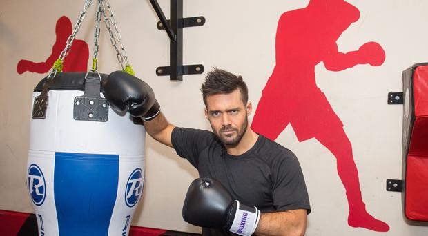 Spencer Matthews during a visit to the Boxing Academy, a Comic Relief funded sport project (Dominic Lipinski/PA)