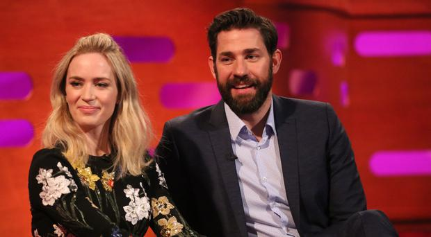 Emily Blunt and John Krasinski during filming for the Graham Norton Show (So TV/PA)