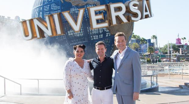 Scarlett Moffatt, Declan Donnelly, and Stephen Mulhern during filming in Universal Orlando Resort in Florida (ITV/PA)