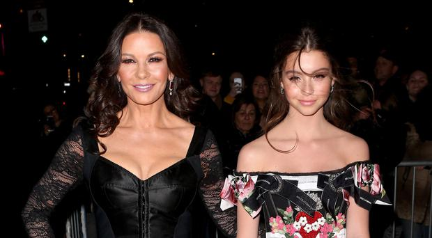 Catherine Zeta Jones and her daughter Carys (REX)