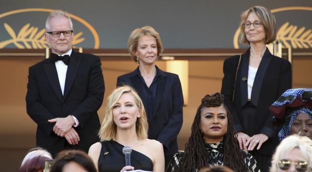 Cate Blanchett at the Cannes women's march (Arthur Mola/Invision/AP)