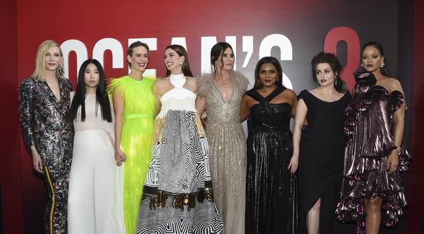 Cate Blanchett, Awkwafina, Sarah Paulson, Anne Hathaway, Sandra Bullock, Mindy Kaling, Helena Bonham Carter and Rihanna attend the world premiere of Ocean's 8 (Evan Agostini/Invision/AP)