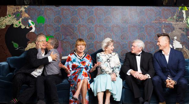Ex-Blue Peter hosts Mark Curry, Peter Duncan, Janet Ellis, Valerie Singleton, Peter Purves and Tim Vincent (Nick Rutter/PA)