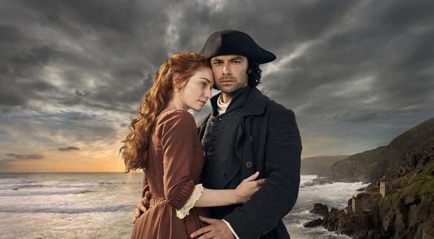 Eleanor Tomlinson as Demelza and Aidan Turner as Ross Poldark (Robert Viglasky/BBC)