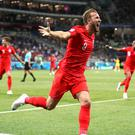 England's Harry Kane celebrates scoring his side's second goal of the game during the FIFA World Cup Group G match at The Volgograd Arena, Volgograd (Image: PA)