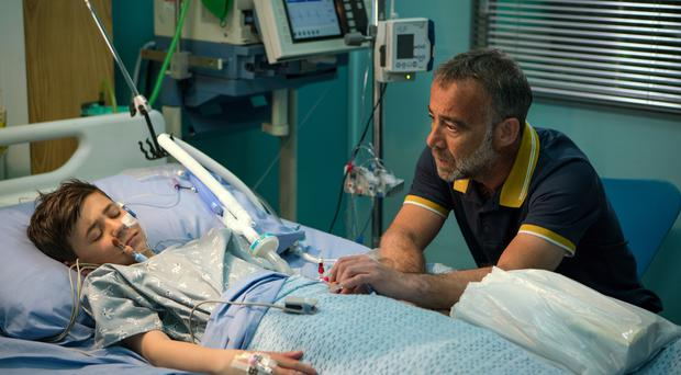 Michael Le Vell and Kyran Bowes in Corrie (ITV)