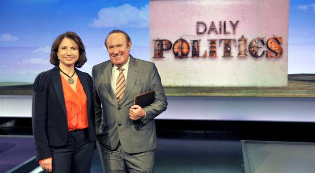 Daily Politics presenters Jo Coburn and Andrew Neil (BBC/Jeff Overs)
