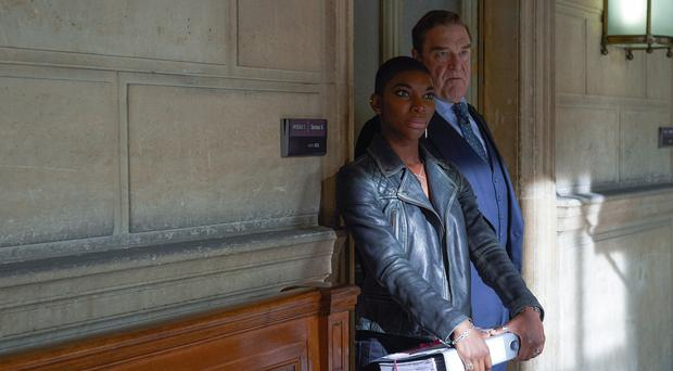 Michaela Coel and John Goodman in Black Earth Rising (Des Willie/BBC)