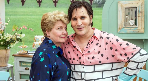 Noel Fielding and Sandi Toksvig, presenters of The Great British Bake Off (Mark Bourdillon/Love Productions)