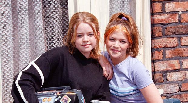Georgia Taylor and Jane Danson celebrate 21 years of the Battersby sisters (Dave Kendall/PA)