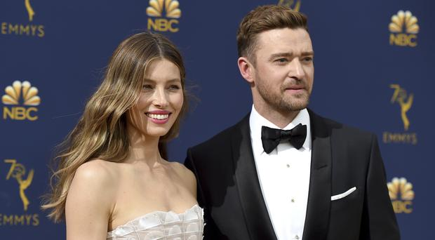 Jessica Biel attended the TV awards show in Los Angeles with husband Justin Timberlake (Jordan Strauss/Invision/AP)