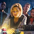 Jodie Whittaker (centre) as the Doctor, with Tosin Cole as Ryan (left), Bradley Walsh as Graham (second right), Mandip Gill as Yaz (first right) (Image: PA)