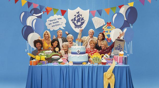 Radzi Chinyanganya, Helen Skelton, Konnie Huq, Peter Duncan, Leila Williams, Valerie Singleton, Peter Purves, Janet Ellis, Lindsey Russell and Anthea Turner during the Blue Peter Big Birthday episode (Joe Giacomet/BBC)