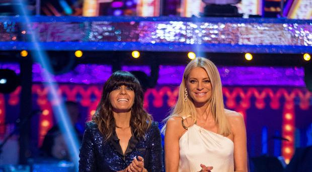Claudia Winkleman and Tess Daly during the Strictly Come Dancing live final (Guy Levy/BBC/PA)