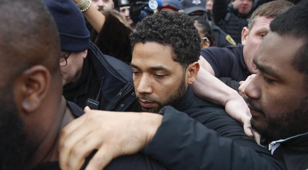 Jussie Smollett was released on bail after an accusation he staged an attack on himself (Kamil Krzaczynski/AP)