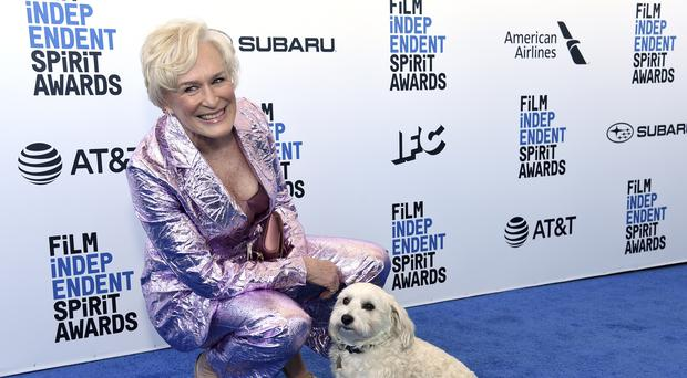 Glenn Close's dog stole the show at the Film Independent Spirit Awards after joining his famous owner on stage (Richard Shotwell/Invision/AP)