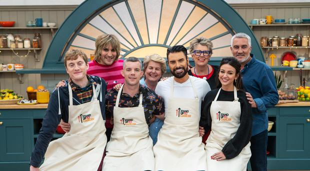 Noel, Sandi, Prue and Paul with Bakers James Acaster, Russell Tovey, Rylan Clark-Neal and Michelle Keegan on The Great Celebrity Bake Off (Mark Bourdillon/Channel 4/PA)