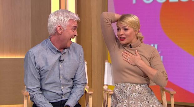 Holly Willoughby was stunned by an April Fool's prank played on her on This Morning (ITV/This Morning/PA)