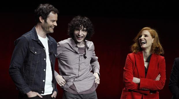 Bill Hader, Finn Wolfhard, and Jessica Chastain, cast members in the upcoming film It: Chapter Two (Chris Pizzello/Invision/AP)