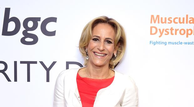 Emily Maitlis was also surprised to shake Donald Trump's hand. (Ian West/PA)