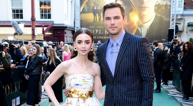 Lily Collins (left) and Nicholas Hoult attending the UK premiere of Tolkien held at Curzon Mayfair, London. (Ian West/PA)