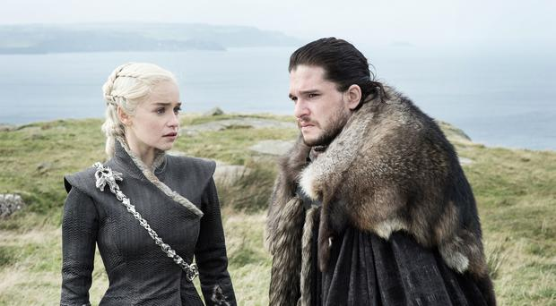 Emilia Clarke as Daenerys Targaryen and Kit Harington as Jon Snow in Game Of Thrones. (HBO)