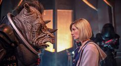 The Doctor, played by Jodie Whittaker, meeting a Judoon captain (James Pardon/BBC/PA)