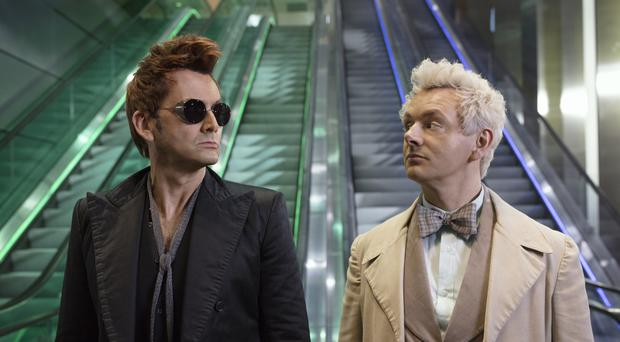 David Tennant as the demon and Michael Sheen as the angel in Good Omens (Amazon Prime Video)