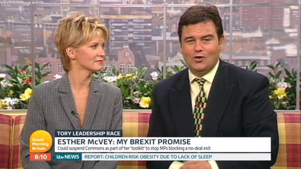 Video grab taken from ITV of a clip of Ester McVey (left) and Eamonn Holmes (right) presenting together on GMTV that was shown on Good Morning Britain.