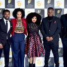 The cast of Famalam (From left to right) Akemnji Ndifornyen, Roxy Sternberg, Gbemisola Ikumelo, Samson Kayo and Tom Moutchi. (Ian West/PA)