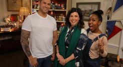 Rav Wilding, Kirstie Allsopp and Angellica Bell in Kirstie's Celebrity Craft Masters (Channel 4)