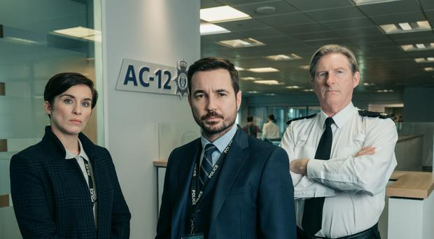 Vicky McClure as DS Kate Fleming, Martin Compston as DS Steve Arnott and Adrian Dunbar as Ted Hastings in Line Of Duty (Aiden Monaghan/World Productions/BBC)