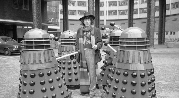Tom Baker as Doctor Who, surrounded by Daleks (BBC)