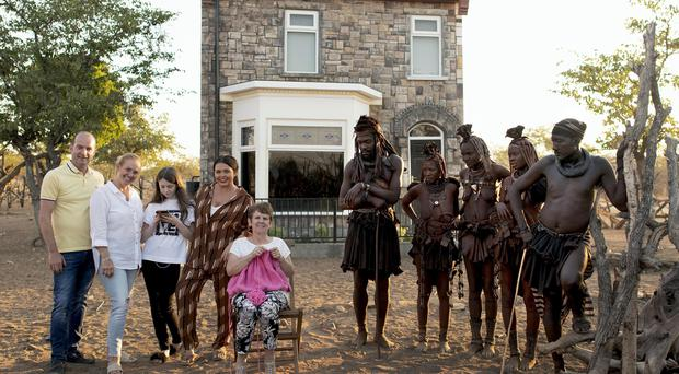 The Moffatt family with the Himba tribe (Channel 4/PA)