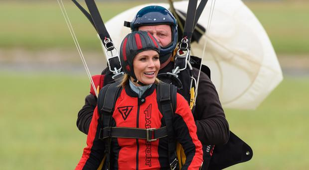 Amanda Holden during a skydive for Heart's Big Skydive to raise money for Global's Make Some Noise (Global/PA)