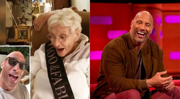 Marie Grover responds to a video message from Dwayne Johnson (Jamie Klingler/Isabel Infantes/PA)