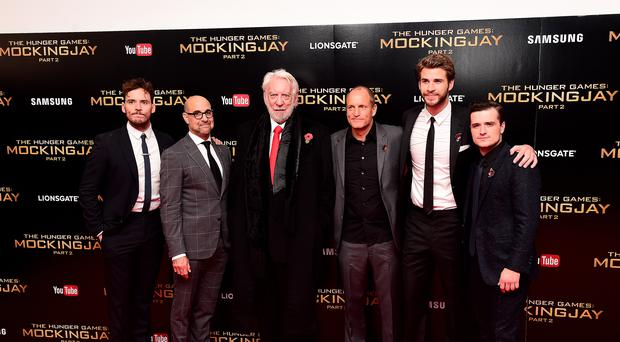 The Hunger Game stars Sam Claflin, Stanley Tucci, Donald Sutherland, Woody Harrelson, Liam Hemsworth and Josh Hutcherson at the premiere of Mockingjay, Part 2 (Ian West/PA)